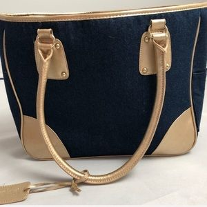 Neiman Marcus denim & gold tote bag